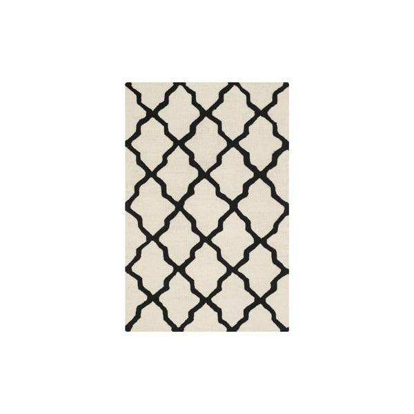 Vlněný koberec Ava 121x182 cm, bílý/černý