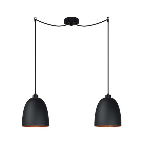 Černé dvojité stropní svítidlo s detailem v měděné barvě Sotto Luce AWA Elementary 2S