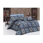 Lenjerie de pat cu cearșaf Mandala, 140 x 200 cm, albastru