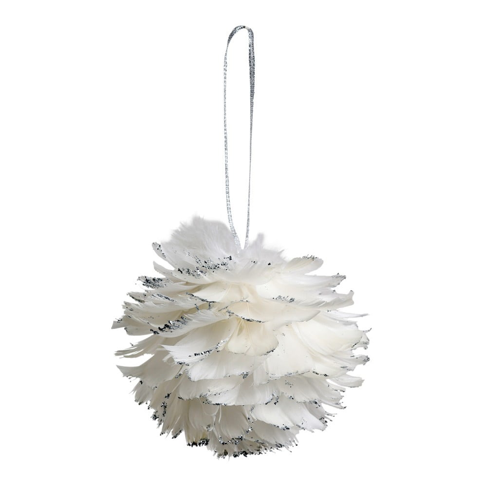 Sada 6 bílých závěsných dekorací z peří Côté Table Hanging Ball Feather, 12 cm