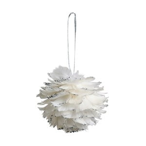 Set 6 decorațiuni suspendate Côté Table Hanging Ball Feather, 12 cm, alb