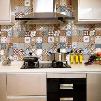 Set 30 autocolante de perete Ambiance Tiles Azulejos Estefania, 10 x 10 cm imagine