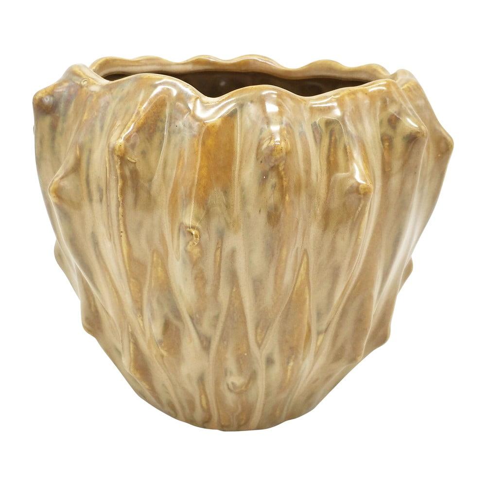 Pískově hnědý keramický květináč PT LIVING Flora, ø 16,5 cm