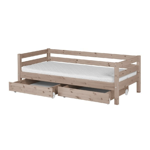 Hnedá detská posteľ z borovicového dreva s 2 zásuvkami Flexa Classic, 90×200 cm