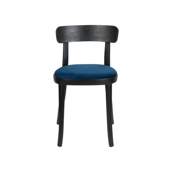 Set 2 scaune cu șezut albastru Dutchbone Brandon, negru