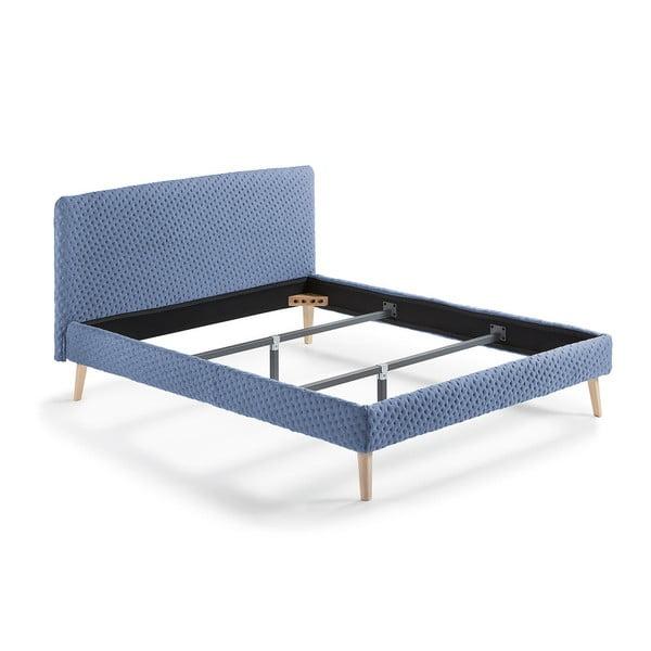 Modrá dvoulůžková čalouněná postel La Forma Lydia Dotted, 190x150cm