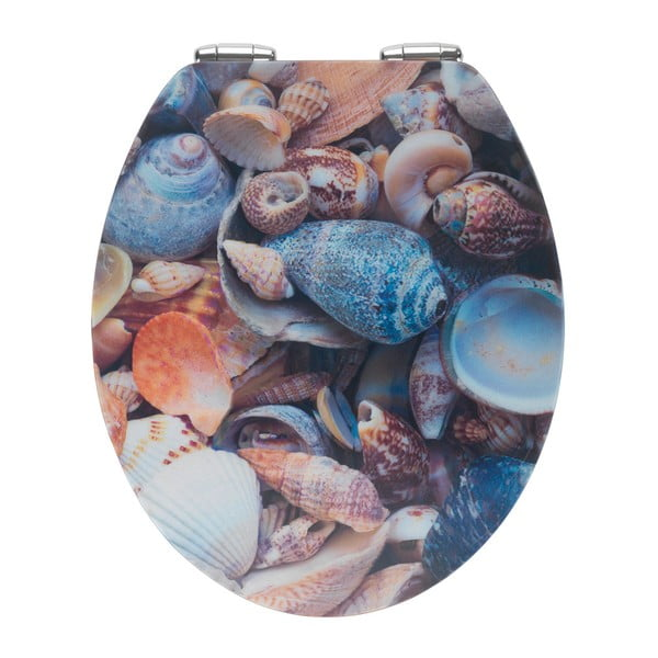 WC sedátko s 3D obrázkem a snadným zavíráním Wenko Sea Shell, 44,5 x 38 cm
