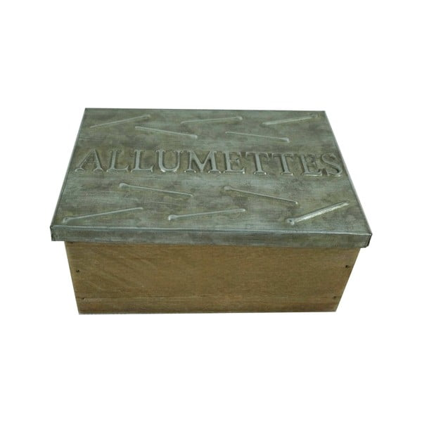 Úložný box ze dřeva s kovoým víkem Antic Line Allumettes