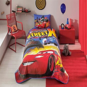 Set cuvertură și față de pernă din bumbac Disney Cars Nitroade, 160 x 220 cm imagine