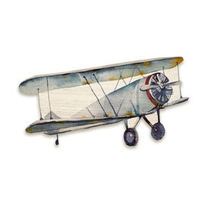 Dřevěná nástěnná dekorace Tanuki Aeroplane, 110x65cm