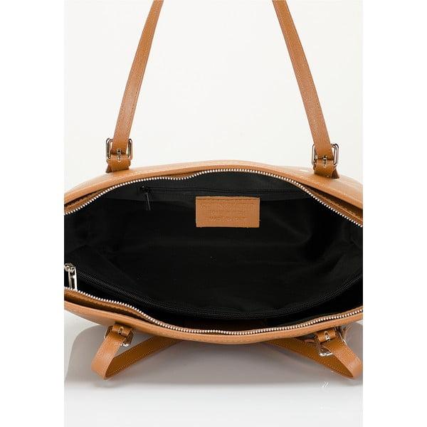 Koňakově hnědá kožená kabelka Lisa Minardi Arianna