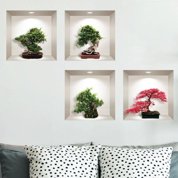 Sada 4 3D samolepek na zeď Ambiance Bonsai Maple