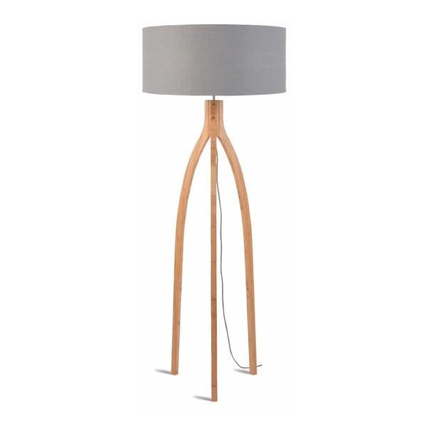Annapurna állólámpa világos szürke búrával és bambusz lámpatesttel - Good&Mojo