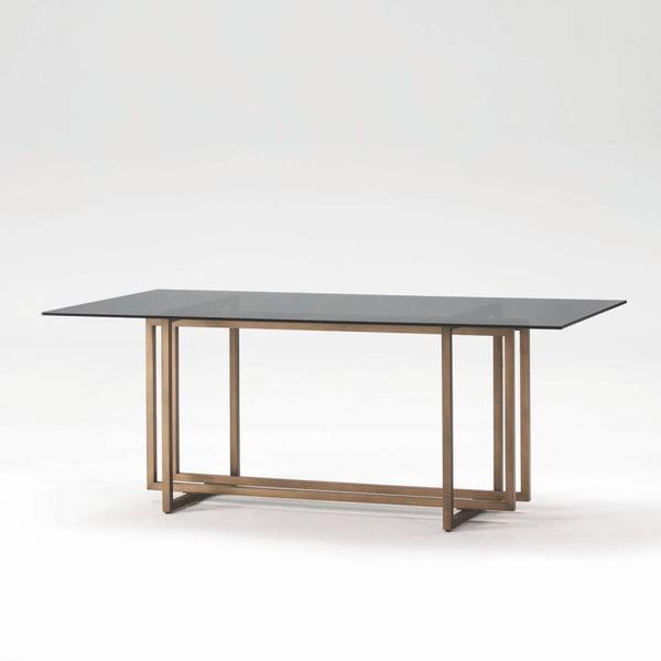 Jídelní stůl z kouřového skla a kovu Thai Natura Bambino, 190 x 100 cm