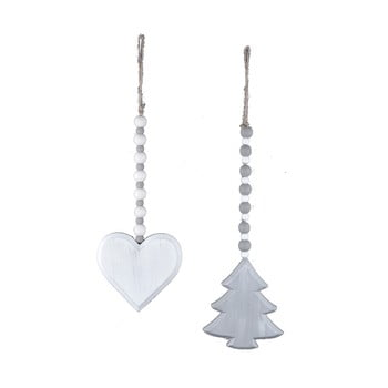 Set 2 decorațiuni suspendate din lemn Ego Dekor White Christmas, alb imagine