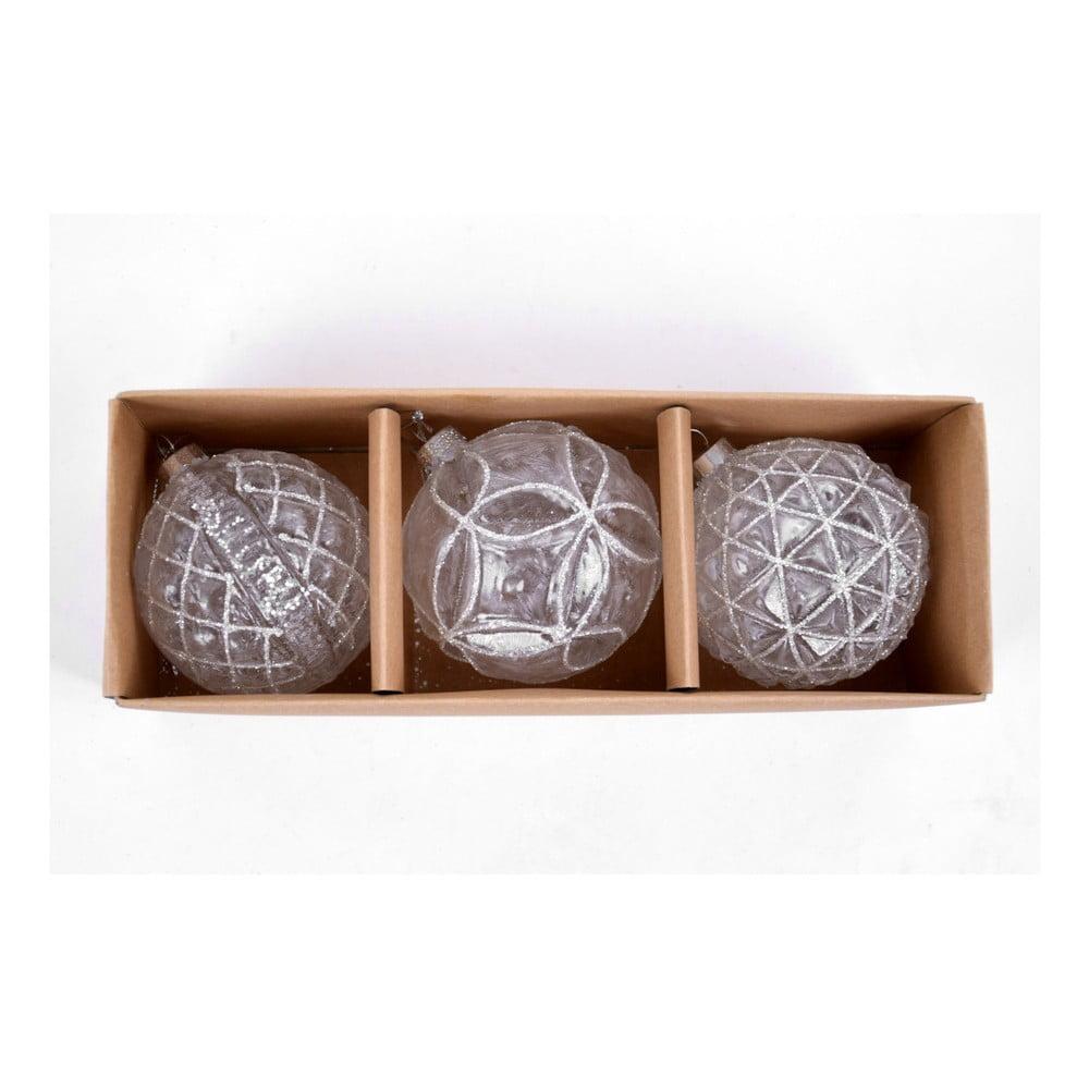 Sada 3 skleněných ozdob ve tvaru koule s dekorem Ego Dekor, šířka 8 cm