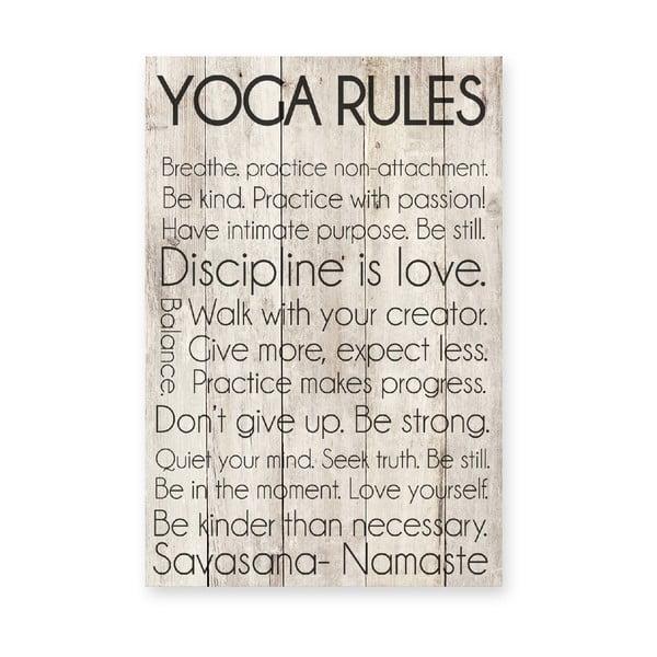 Dřevěná cedule Yoga Rules