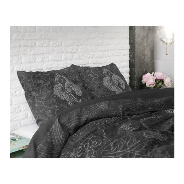 Tmavě šedé povlečení z mikroperkálu na dvoulůžko Sleeptime Modern Paisley,240x220cm