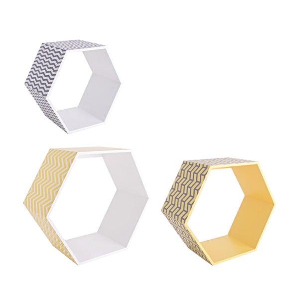 Sada 3 nástěnných poliček Hexagon