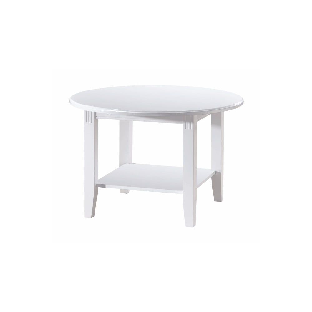 Bílý konferenční stolek z dubového dřeva Folke Wittskar, ∅80cm