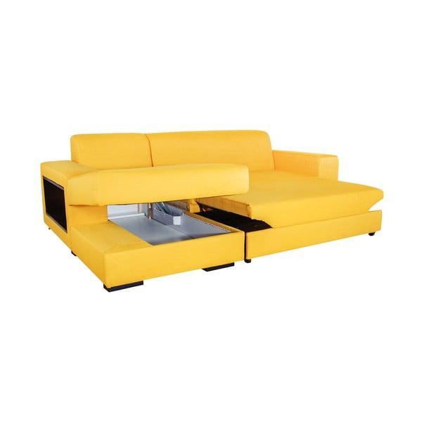 Rozkládací pohovka A-Maze s úložným prostorem 245 cm, žlutá, levá strana