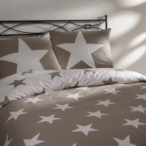 Béžové bavlněné povlečení na dvoulůžko Ekkelboom Stars, 240 x 200 cm