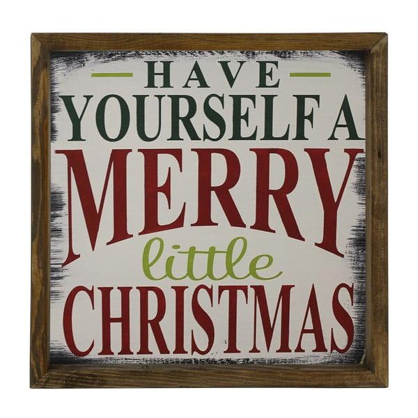 Tablou în ramă de lemn de pin Little Christmas,34x34cm