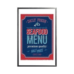 Zarámovaný plakát Vintage Seefood, černý rám