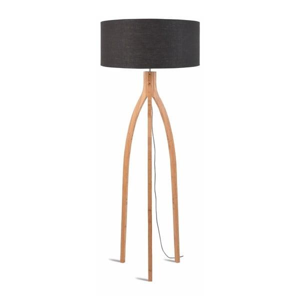 Stojací lampa s tmavě šedým stínidlem a konstrukcí z bambusu Good&Mojo Annapurna