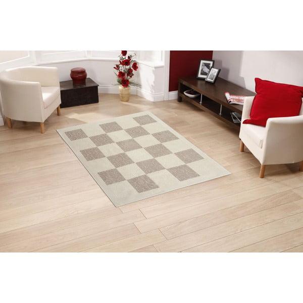 Krémový bavlněný koberec Floorist Check, 100x200cm