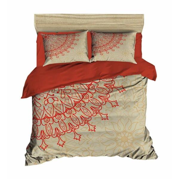 Lenjerie de pat cu cearșaf Mandala Beige, 200 x 220 cm
