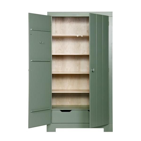 Zelená šatní skříň z borovicového dřeva Nikki De Eekhoorn
