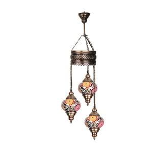 Skleněná ručně vyrobená závěsná lampa Three Reiki, ⌀13 cm