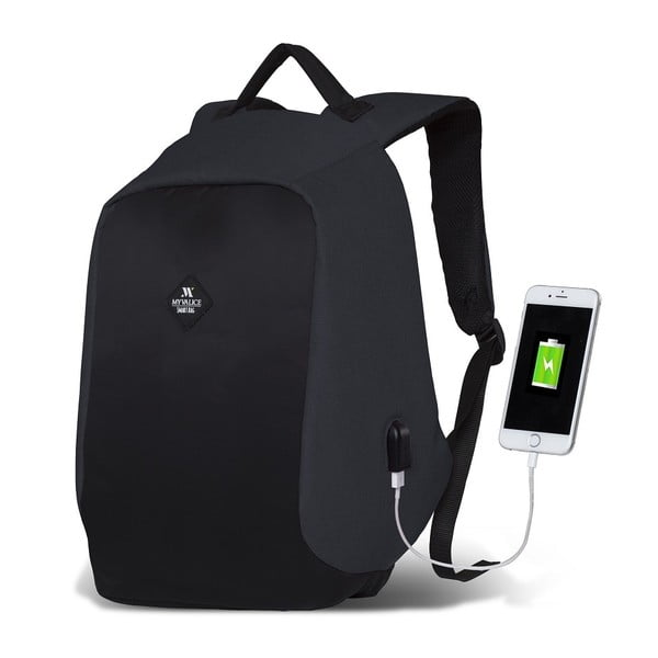 Tmavosivo-čierny batoh s USB portom My Valice SECRET Smart Bag
