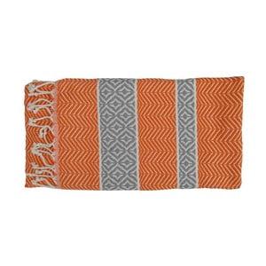 Prosop țesut manual din bumbac premium Basak, 100 x 80 cm, portocaliu