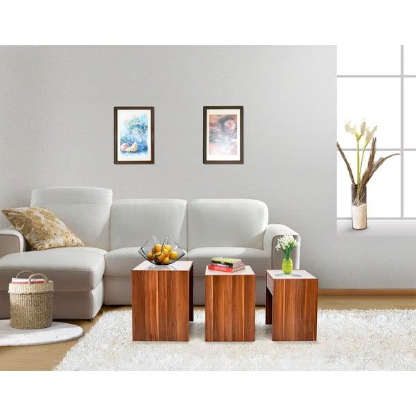 Sada 3 stolků Decoflex Nesting, ořech/bílá