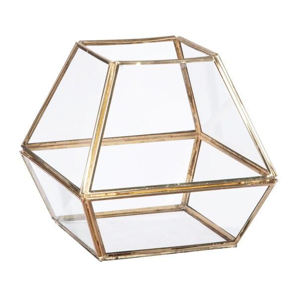Skleněná vitrínka/květináč Stand Glass Gold, 16 cm