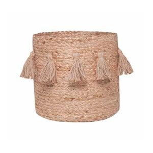 Růžový ručně tkaný box z konopného vlákna Nattiot, Ø 30 cm