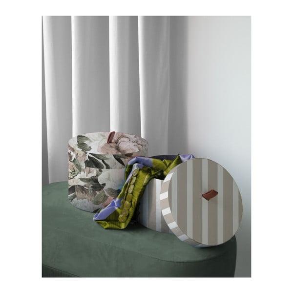 Sada 2 kulatých úložných boxů ze sametu Velvet Atelier Lili