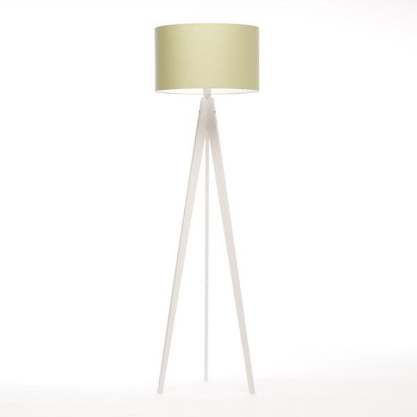 Zelená stojací lampa Artist, bílá bříza  lakovaná, 150 cm