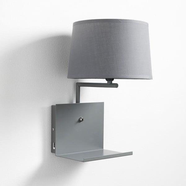 Šedá nástěnná lampa s poličkou a USB nabíječkou Tomasucci Nio