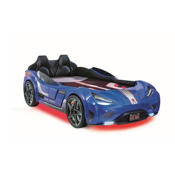 Fast GTS Carbed Blue autó formájú kék gyerekágy, piros lámpákkal