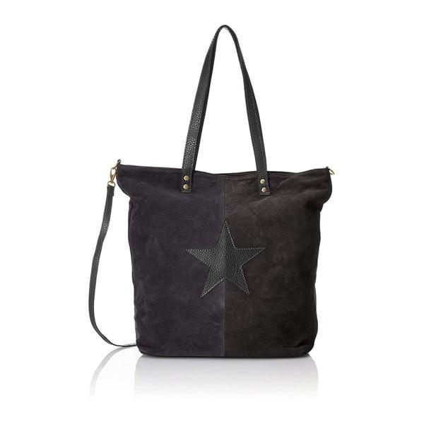 Černá kožená kabelka Chicca Borse Asterisco