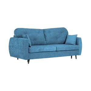Modrá třímístná rozkládací pohovka s úložným prostorem Kooko Home Bluzz