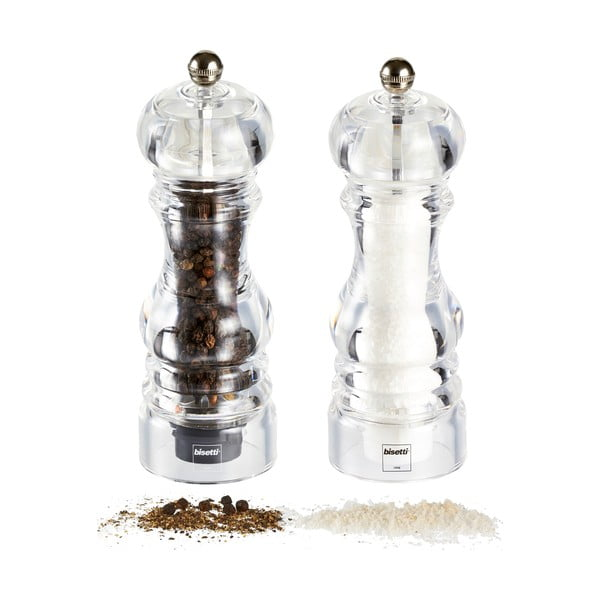 Sada 2 mlýnků na sůl a pepř Bisetti, 17.5 cm