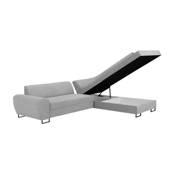 Canapea extensibilă cu spațiu pentru depozitare Kooko Home XL Right Corner Sofa Piano,gri