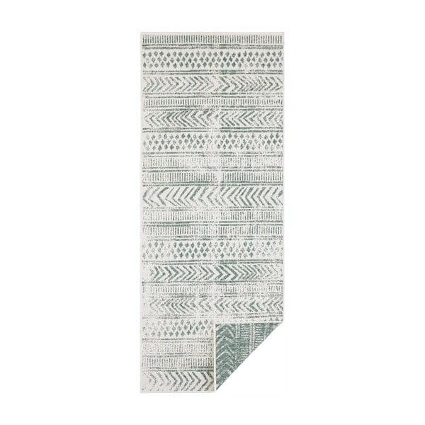 Covor adecvat pentru exterior Bougari Biri, 80 x 350 cm, verde-crem