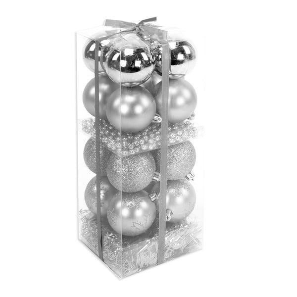 Set 16 decorațiuni de Crăciun și ghirlandă Unimasa Brightness, argintiu