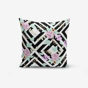 Povlak na polštář s příměsí bavlny Minimalist Cushion Covers Black White Labirent Soyut Flower, 45 x 45 cm