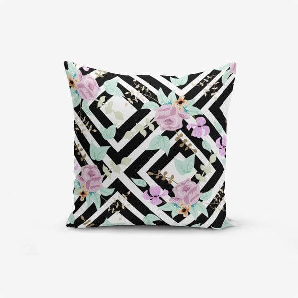 Față de pernă cu amestec din bumbac Minimalist Cushion Covers Black White Labirent Soyut Flower, 45 x 45 cm